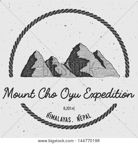 Cho Oyu In Himalayas, Nepal Outdoor Adventure Logo. Round Trekking Vector Insignia. Climbing, Trekki