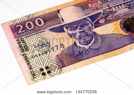 200 Namibian dollars bank note of Namibia. Namibian dollars is the national currency of Namibia