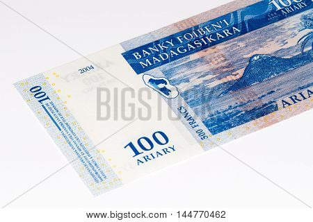100 Malagasy ariary bank note of Madagascar. Malagasy ariary is the national currency of Madagascar