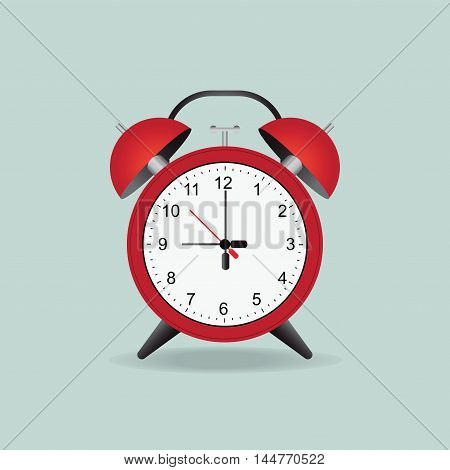 Red Alarm Clock Isolated On background flat design Vector Illustration.