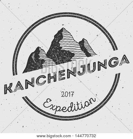 Kanchenjunga In Himalayas, India Outdoor Adventure Logo. Round Expedition Vector Insignia. Climbing,