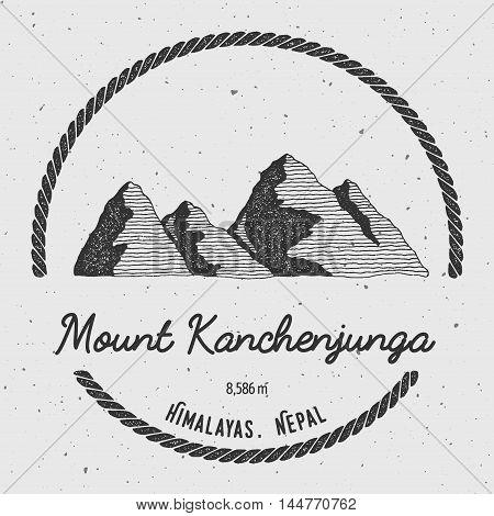 Kanchenjunga In Himalayas, India Outdoor Adventure Logo. Round Trekking Vector Insignia. Climbing, T