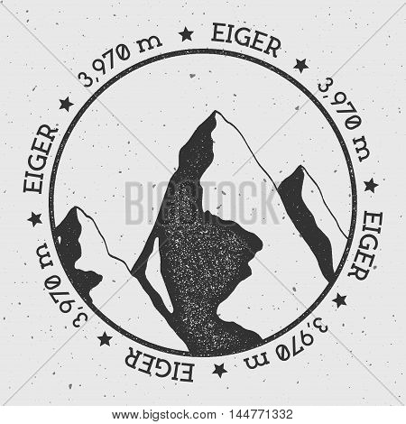 Eiger In Alps, Switzerland Outdoor Adventure Logo. Round Stamp Vector Insignia. Climbing, Trekking,