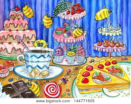 Funny bees in sweetshop, watercolor hand drawn colorful illustration, artwork with sweets, cakes and candies, food and celebration theme