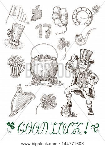 Design set with hand drawn graphic engraved symbols of St. Patricks Day: leprechaun, pot of gold, pipe, hat, horseshoe, harp and shamrock. Doodle and line art vector drawings isolated on white