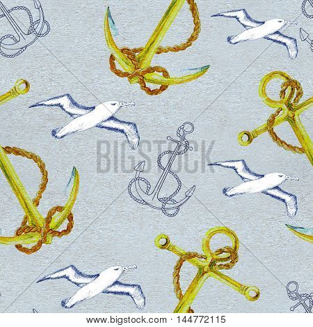 Seamless hand drawn vintage pattern with ship anchor and white flying sea gulls on texture background. Watercolor repeated illustration.