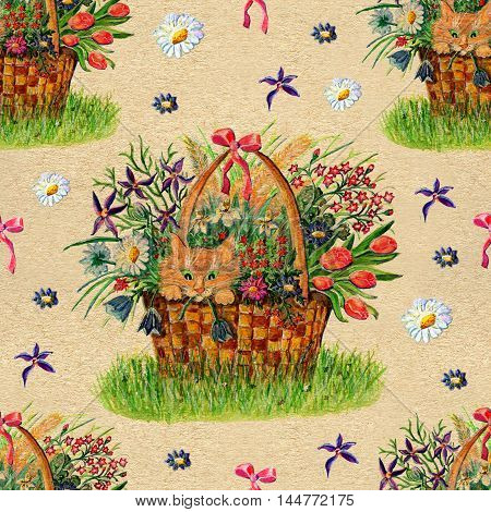 Seamless hand drawn cartoon pattern with wild flowers and cute cat sitting in wicker basket against texture background. Watercolor repeated illustration