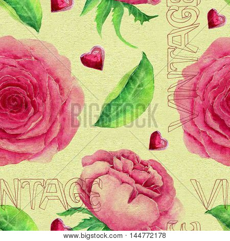 Seamless hand drawn vintage pattern with pink roses, lettering, hearts and leaves on texture background. Watercolor repeated illustration