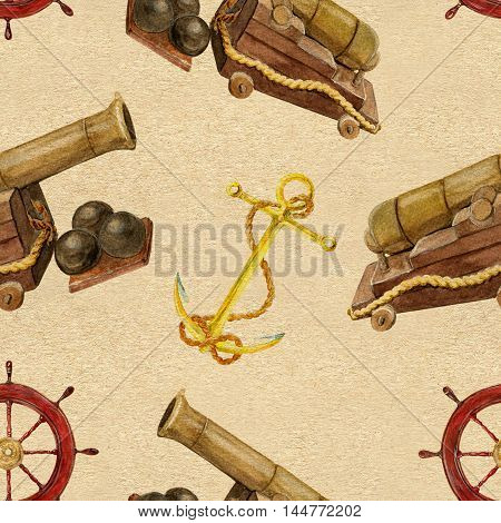 Seamless hand drawn vintage pattern with cannon, ship steering wheel or helm and anchor on texture background. Watercolor repeated illustration.