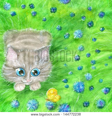 Seamless background with cute cat playing in wildflowers