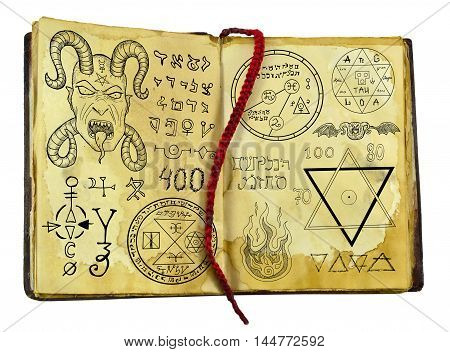 Old witch book with demon, fantasy and mystic symbols isolated on white. Halloween concept, black magic ritual with occult and esoteric signs