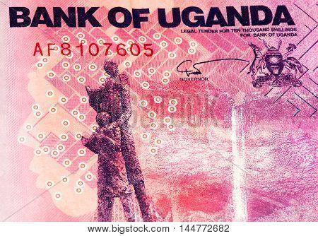 10000 Ugandan shillings bank note. Ugandan shilling is the national currency of Uganda