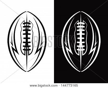 An American football ball icon emblem illustration. Vector EPS 10 available.
