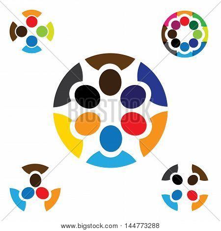 Set Of Colorful, Abstract People Together Graphics - Vector Logo Icons