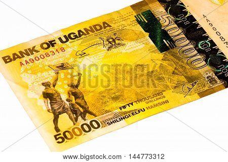 50000 Ugandan shillings bank note. Ugandan shilling is the national currency of Uganda