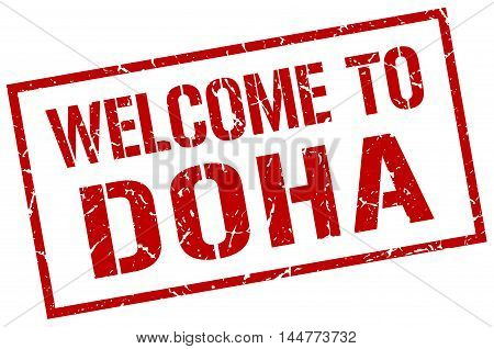 welcome to Doha. stamp. grunge square sign
