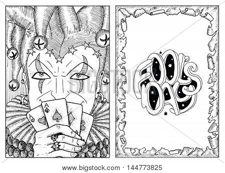 Engraved portrait of smiling Joker and border of torn paper with lettering. Line art hand drawn vector illustration and graphic sketch. Doodle with text. Coloring book page.