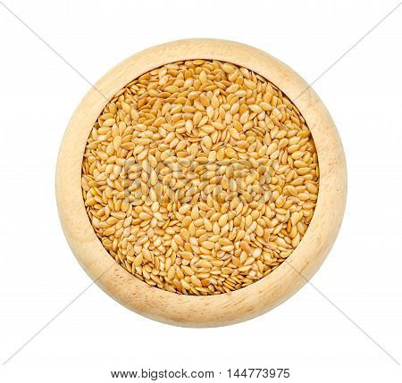 Gold Flax seeds Linseed Lin seeds in wooden dish isolated on white background Saved clipping path.