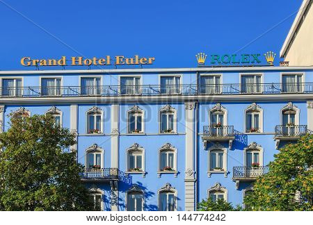 Basel, Switzerland - 27 August, 2016: upper part of the Grand Hotel Euler building facade. Euler Hotel Basel is a newly refurbished 4-star hotel, located right at the Basel railway station.