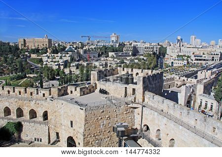 View of the city of Jerusalem from the top of the Jerusalem Citadel or Tower of David.