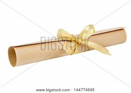 paper scroll and gold bow isolated on white background Saved clipping path
