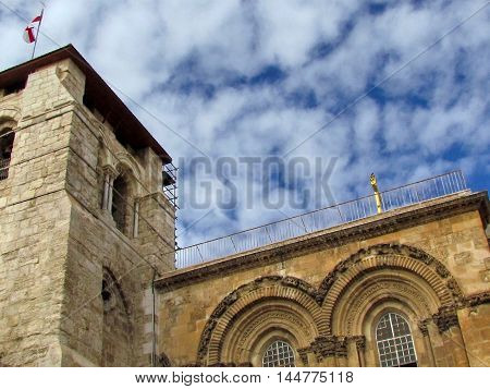 The part of facade of Church of the Holy Sepulcher in old city of Jerusalem Israel