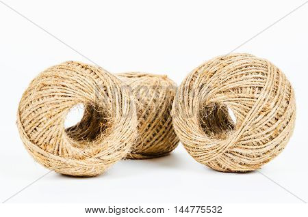 The Hemp rope roll on white background
