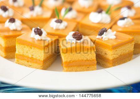 Close up shot of Thai tea cake in buffet