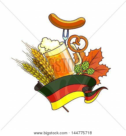 Octoberfest festival cartoon design with glass of beer, ears. Vector Illustration.