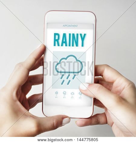 Calender Weather Update Rainy Concept