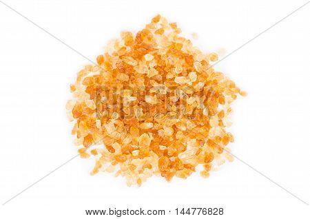 cane sugar - granulated sugar on white background.