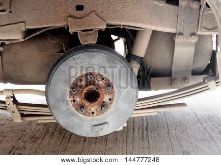 back Drum brake is spare part of a pick-up car. waiting for the wheel
