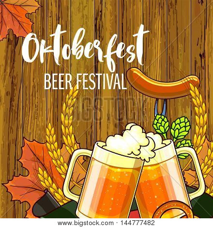 Oktoberfest festival cartoon design with glass of beer, ears lettering card on wooden background. Vector Illustration.