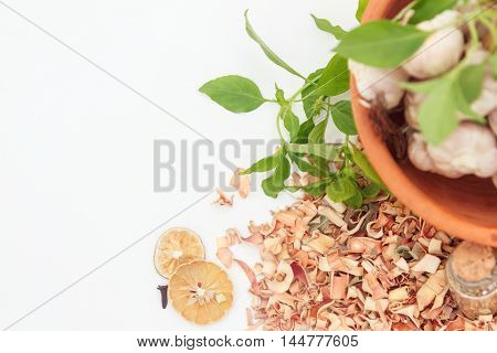 Indian Spices In Terracotta Pots On White Background, Top View Mix Indian Spices And Herbs Differenc