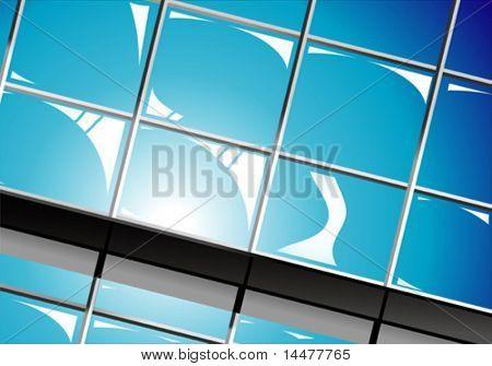 VECTOR sun blue sky reflection on business palace windows