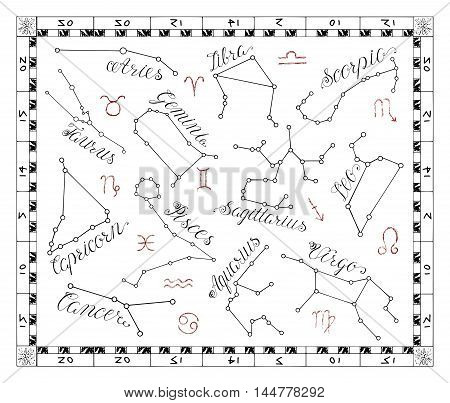 Graphic astrology set with Zodiac constellation signs in frame. Line art vector with horoscope symbols on white. Doodle mystic drawing and hand drawn sketch with calligraphic lettering