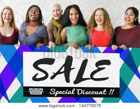 Group of Women Sales Promotion Special Discount Concept