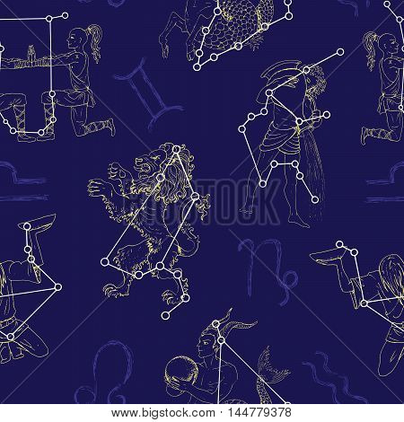 Seamless pattern with Zodiacs sign Lion, Twins, Capricorn and Aquarius. Line art vector with horoscope symbols. Doodle mystic and astrology illustration, hand drawn repeated background