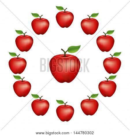 Apples in a wheel, Red Delicious, fresh, natural, ripe, orchard garden fruit in a circle, isolated on a white background.