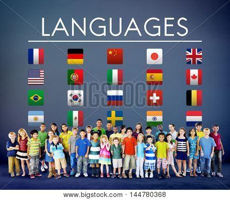 International Languages Flag Display Concept