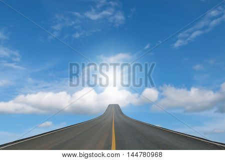 Lane blacktop isolated on blue sky with sunlight background.