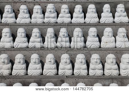 Pattern of stone buddhist monk statue in Sanbangsa TempleJeju Island South Korea