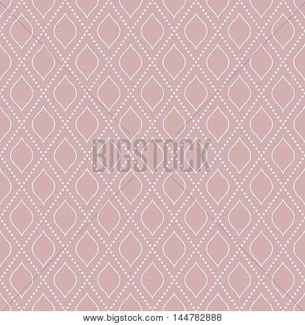 Geometric repeating purple and white ornament with diagonal dotted lines. Seamless abstract modern pattern