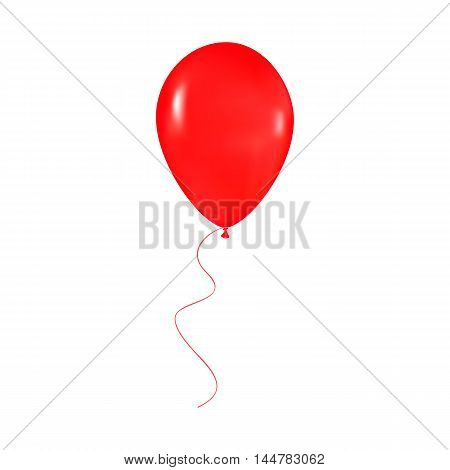 red shiny balloon with ribbon isolated on white background