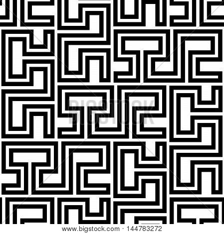 Seamless geometric pattern by stripes. Modern background with repeating lines. Black and white geometric pattern