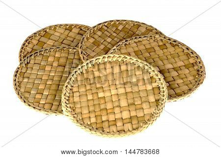Rattan coasters or drinks mats isolated on a white background