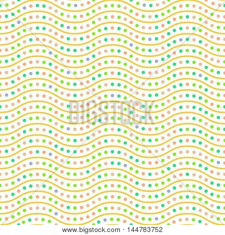 Seamless ornament. Modern geometric pattern with repeating colorful dots and wavy lines