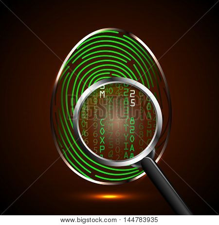Illustration of  Magnifying glass looking at a fingerprint and showing binary code