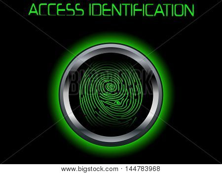 Illustration of green Fingerprint Scanning Access Identification