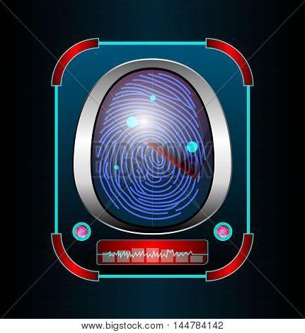 Illustration of Fingerprint scanning isolated black background